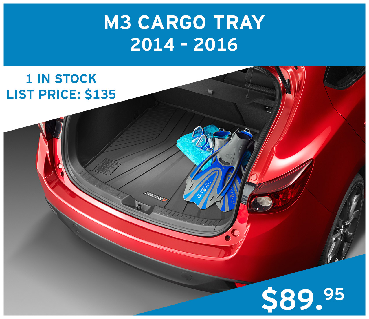 2x Mazda 3 Cargo Tray for 2014 - 2016 vehicles at $89.95