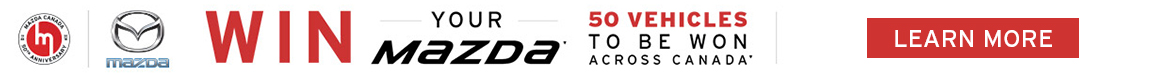 Win Your Mazda with Angevaare Mazda. There are 50 Vehicles to be won. Click on the link to learn more about Mazda Canada's 50th Anniversary Celebration.