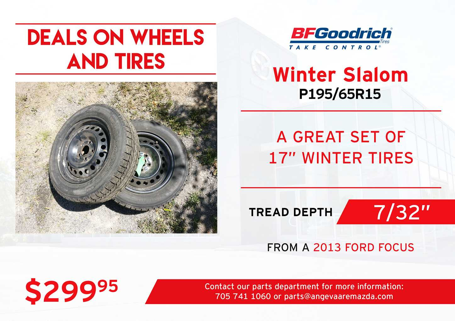 BF Goodrich Winter Slalom tires P195/65R15 with a tread depth of 7/32