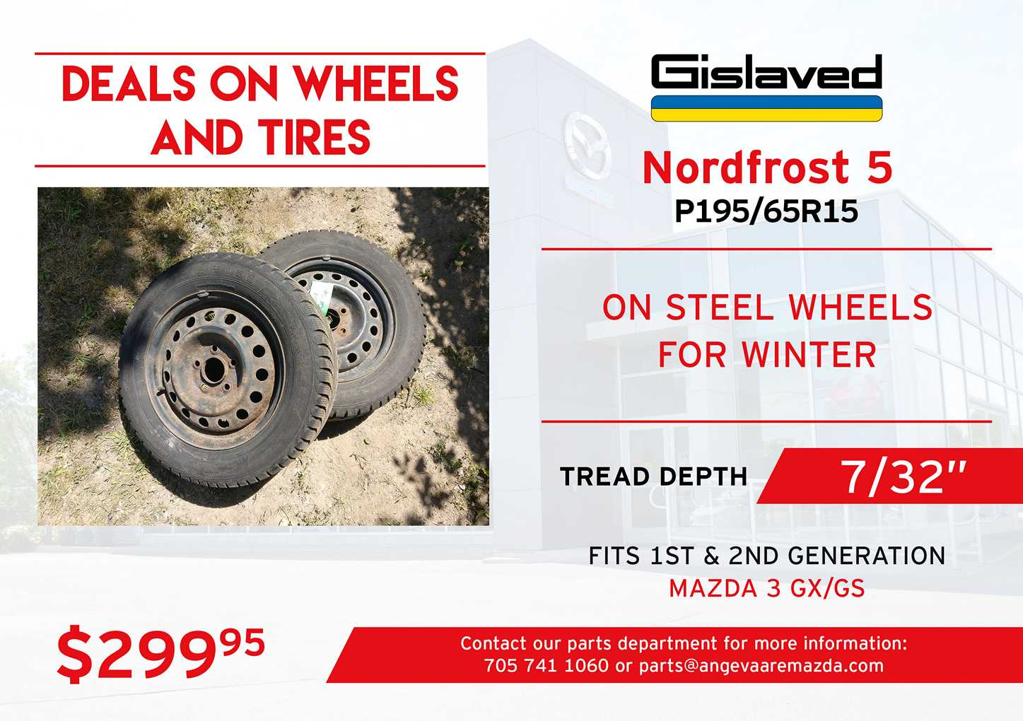 Gislaved Nordfrost 5 winter tires on steel wheels, P195/65R15. With a tread depth of 7/32