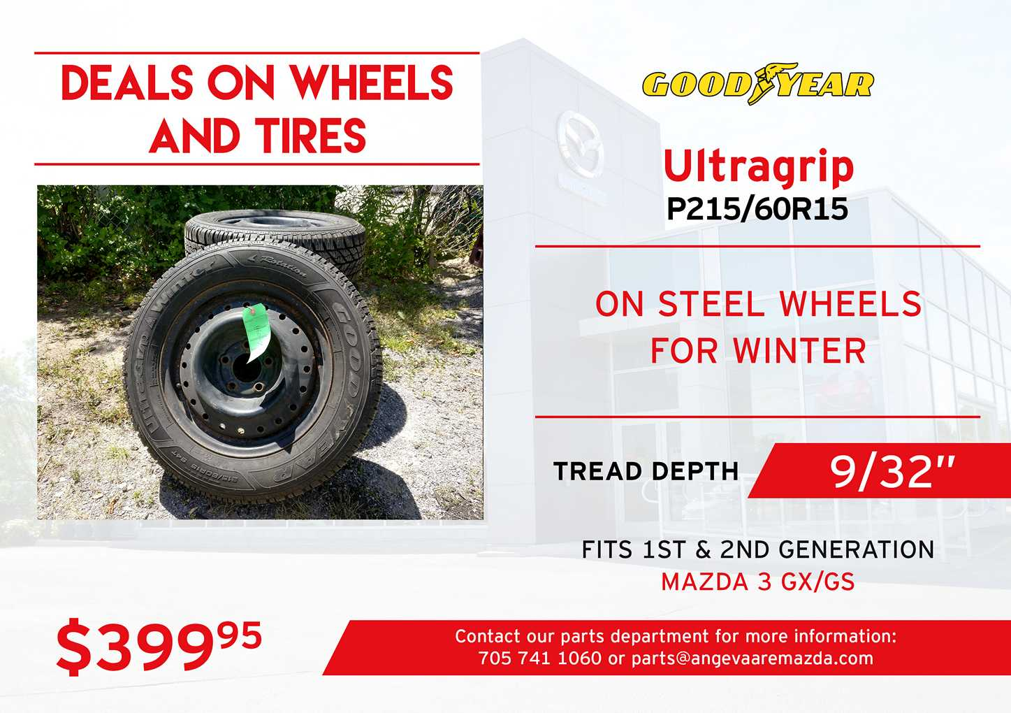 Goodyear Ultragrip tires on steel wheels, P215/60R15. Great winter tires with a tread depth of 9/32
