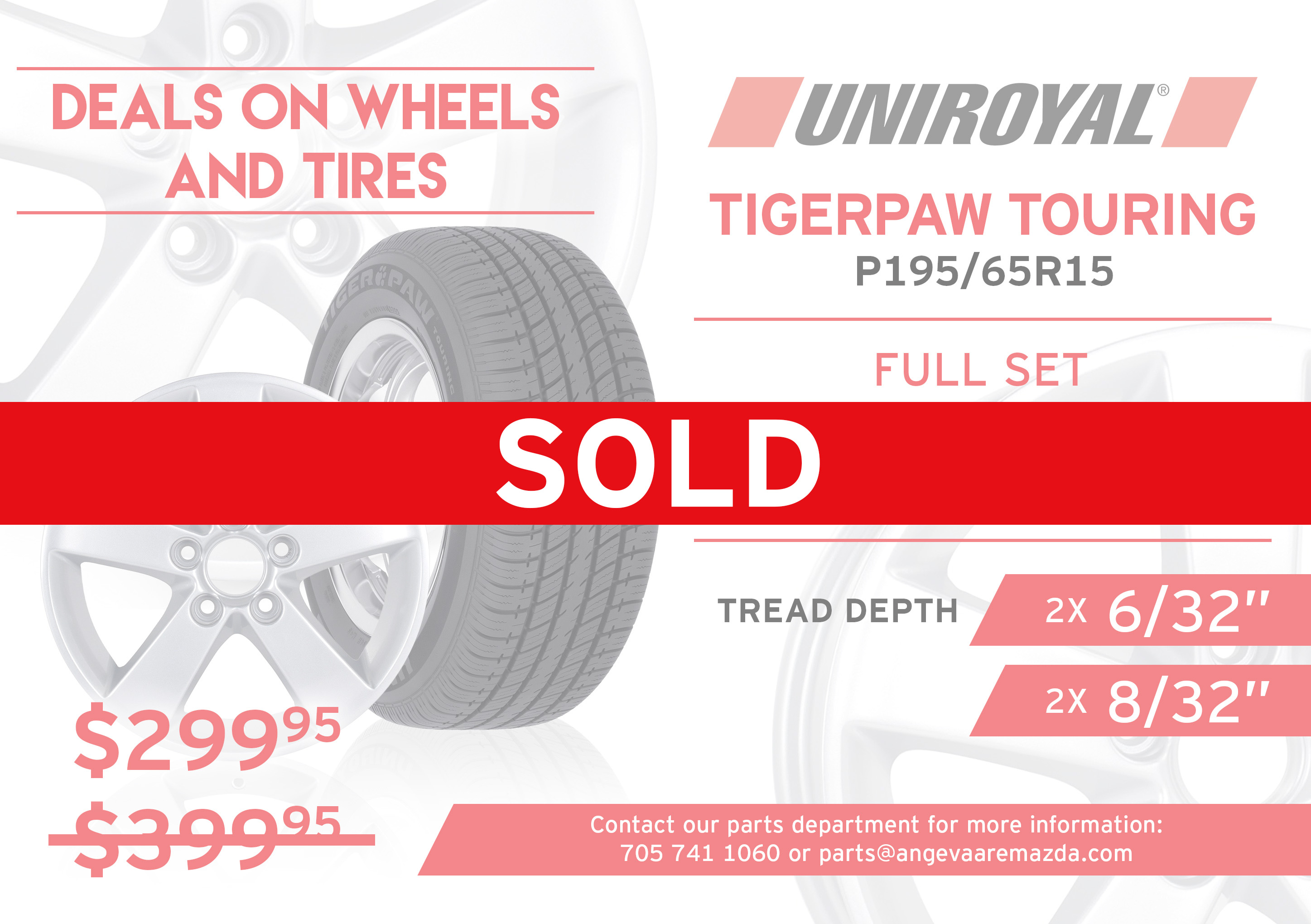 Uniroyal Tiger Touring tires P195/65R15. A full set of used 15