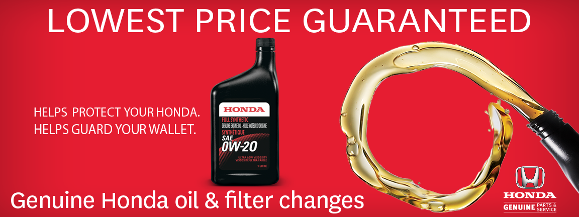 <strong>Lowest Price Guarantee On&nbsp;Genuine Honda Oil &amp; Filter Changes&nbsp;</strong> - Image