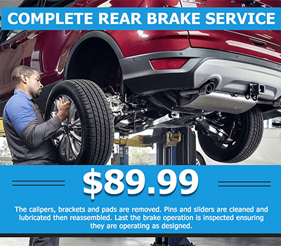 Complete Rear Brake Service<br> $89.99 - Image
