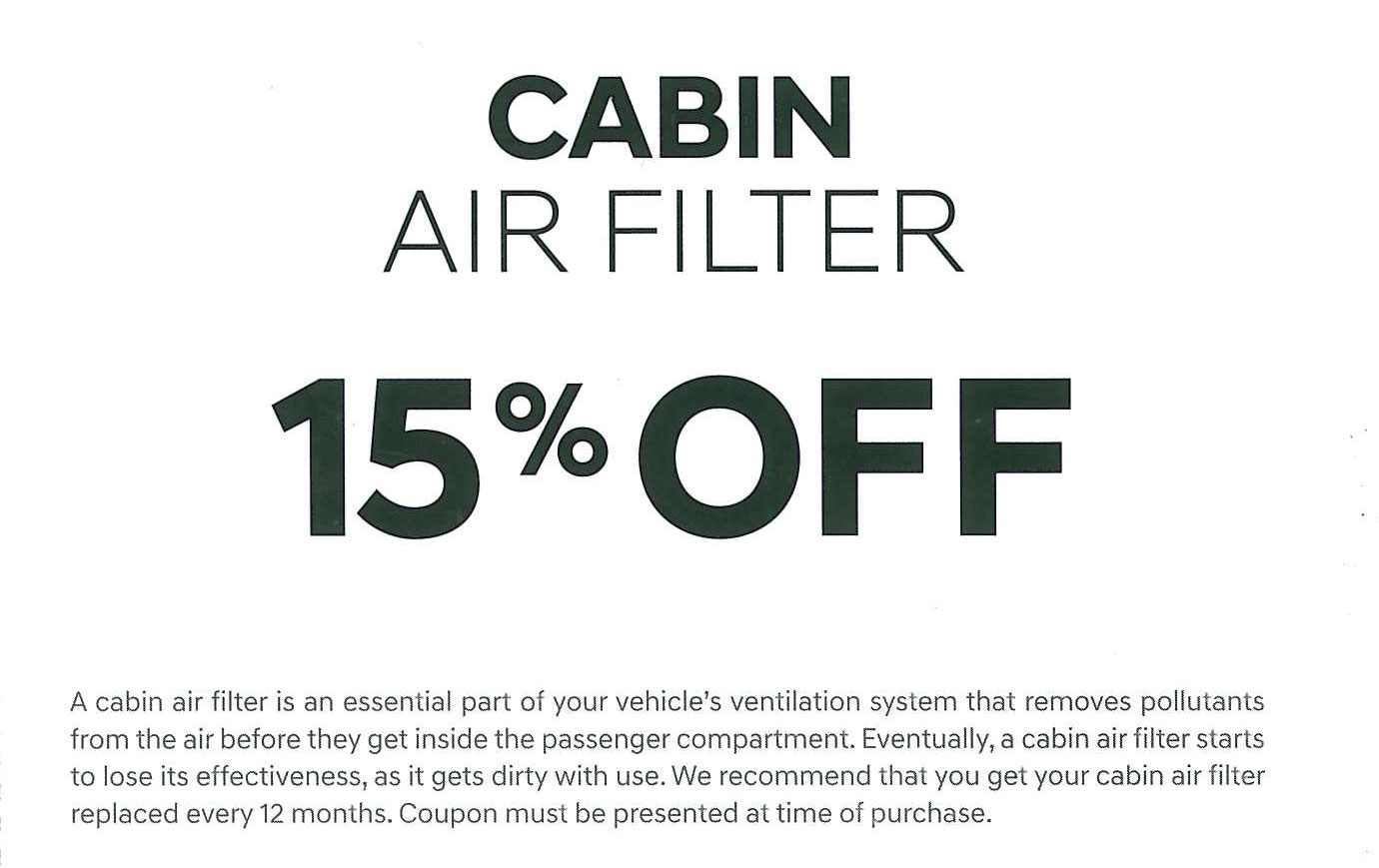 Cabin & Air Filter Special